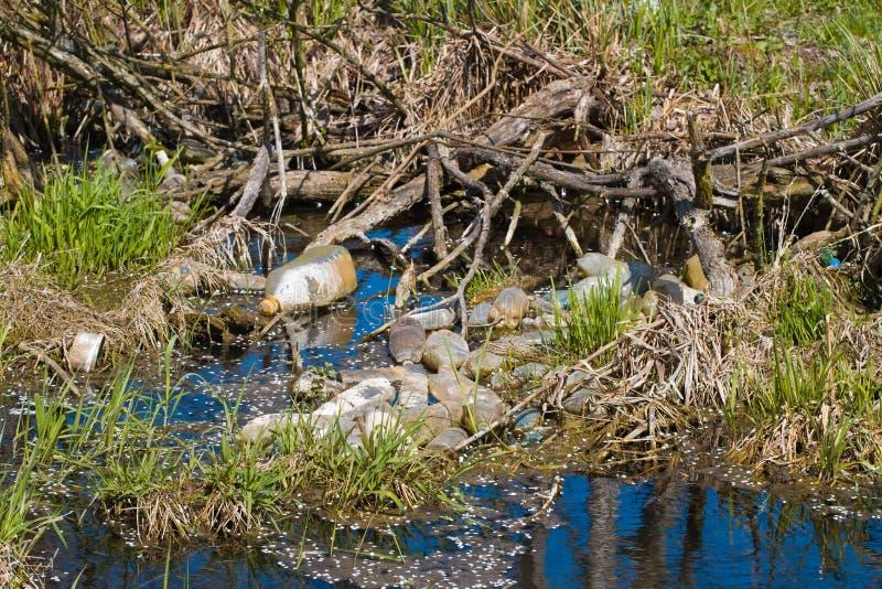 瓶和袋子污染塑料垃圾在海岸线在一条小河 免版税库存照片