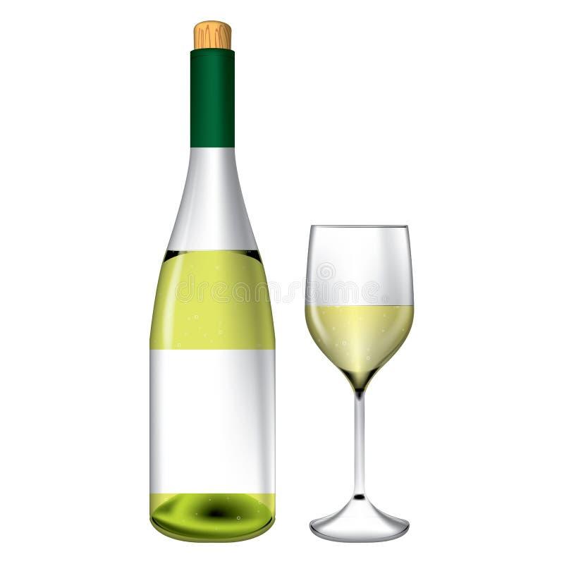 瓶和酒杯向量 皇族释放例证