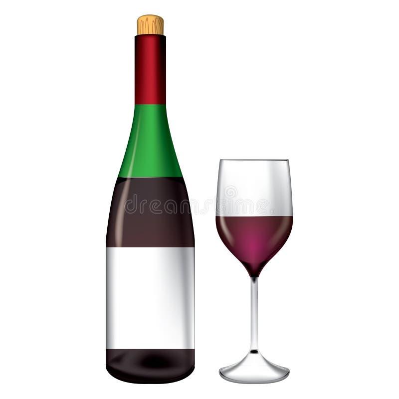 瓶和酒杯向量 库存例证