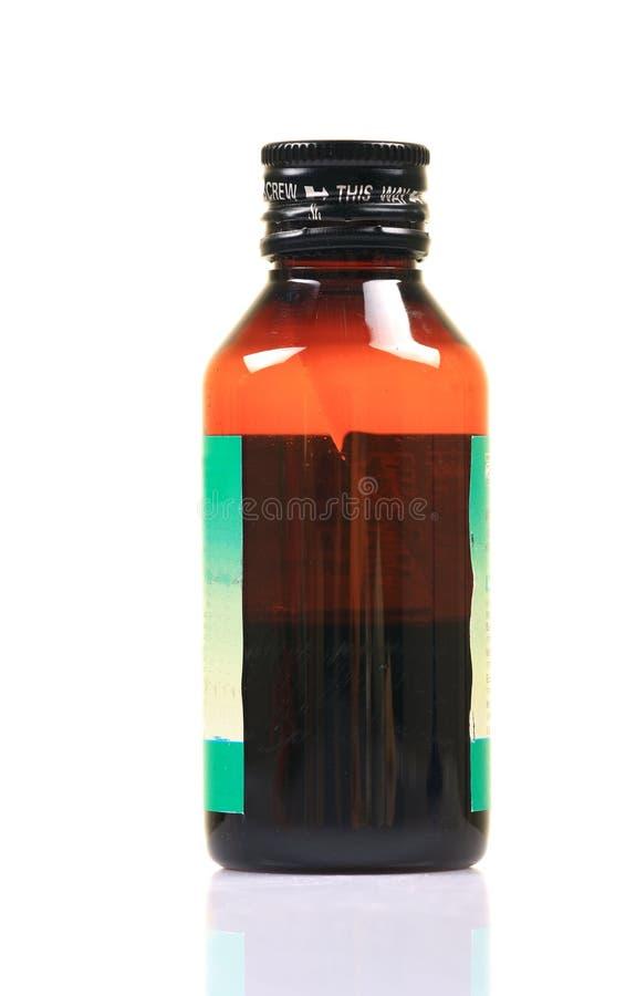 瓶咳嗽糖浆 免版税图库摄影