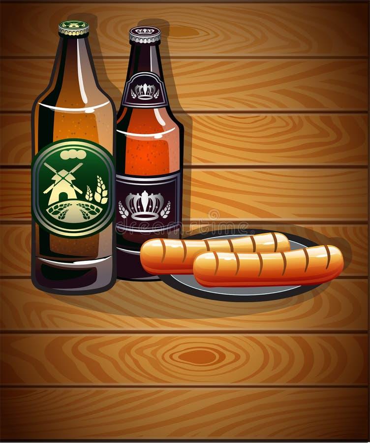 瓶啤酒和香肠 皇族释放例证