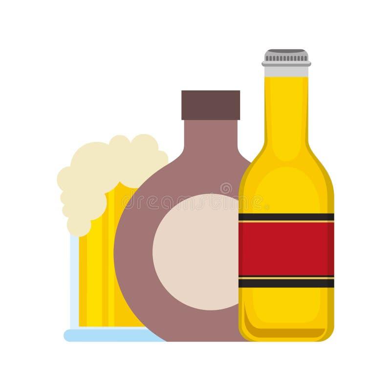 瓶啤酒酒和玻璃杯子 皇族释放例证