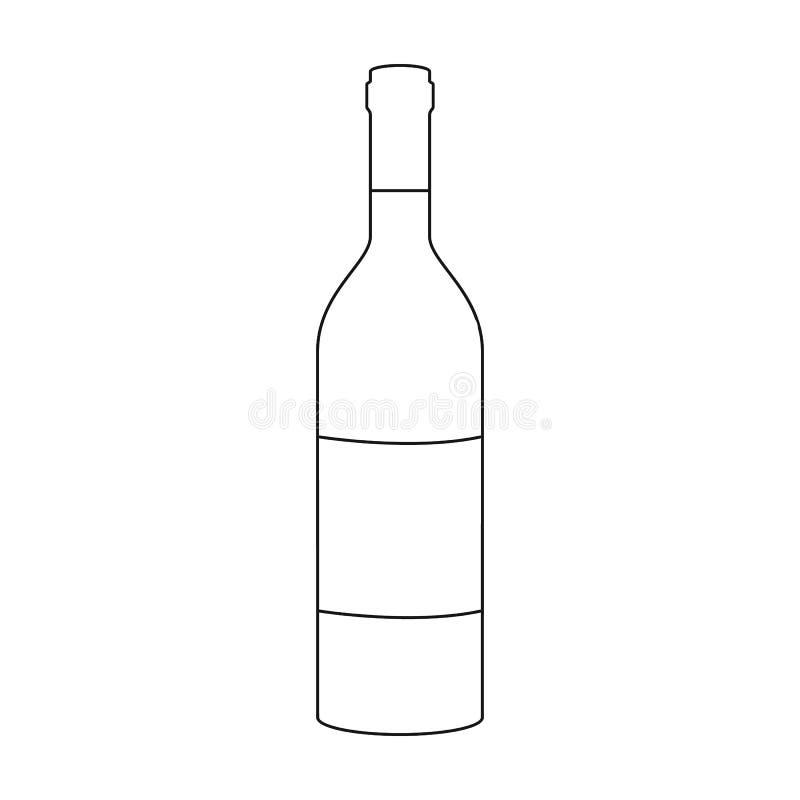 瓶在白色背景在概述样式的红葡萄酒象隔绝的 葡萄酒酿造标志 向量例证