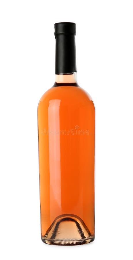 瓶在白色背景的可口玫瑰酒红色 大模型为 库存图片