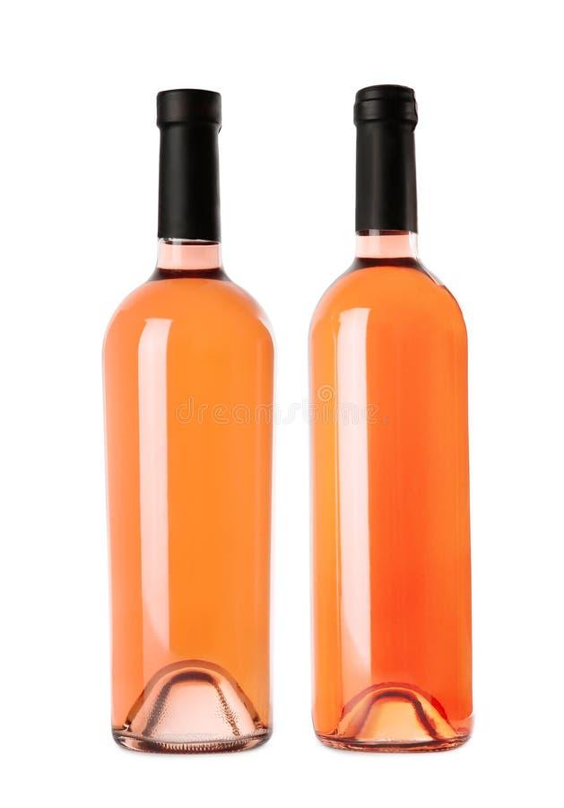 瓶在白色背景的可口玫瑰酒红色 大模型为 免版税库存图片