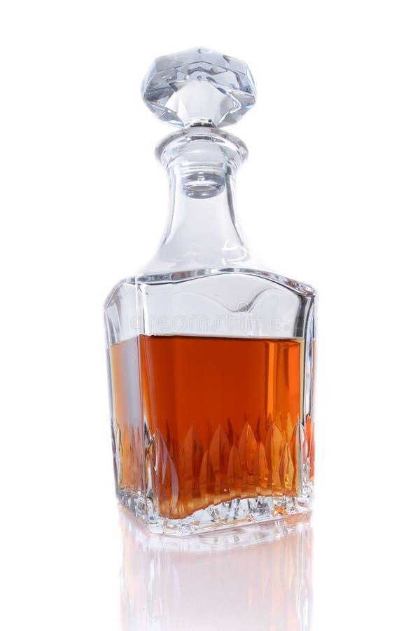 瓶在白色背景的波旁威士忌酒 库存照片