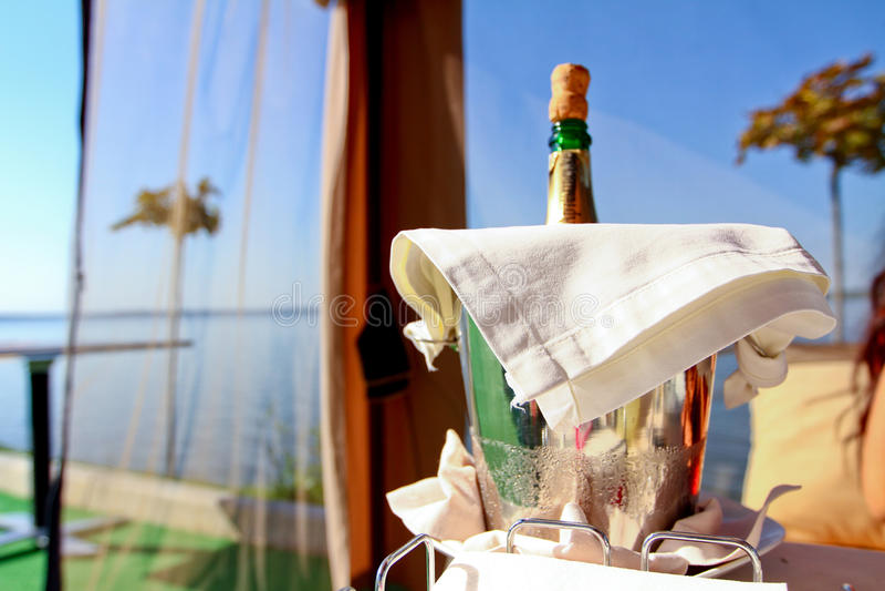 瓶在蓝天之后的香槟 免版税库存图片