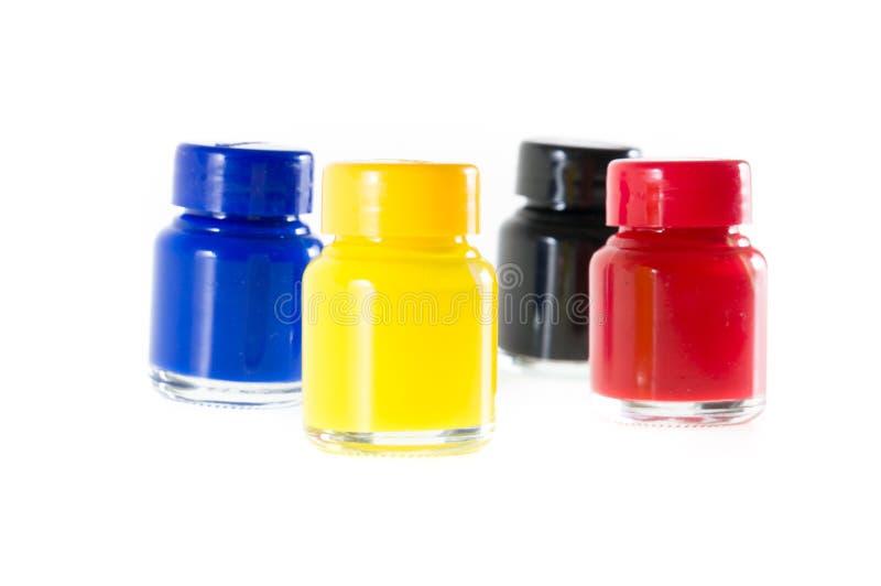 瓶在cmyk颜色的墨水 库存图片