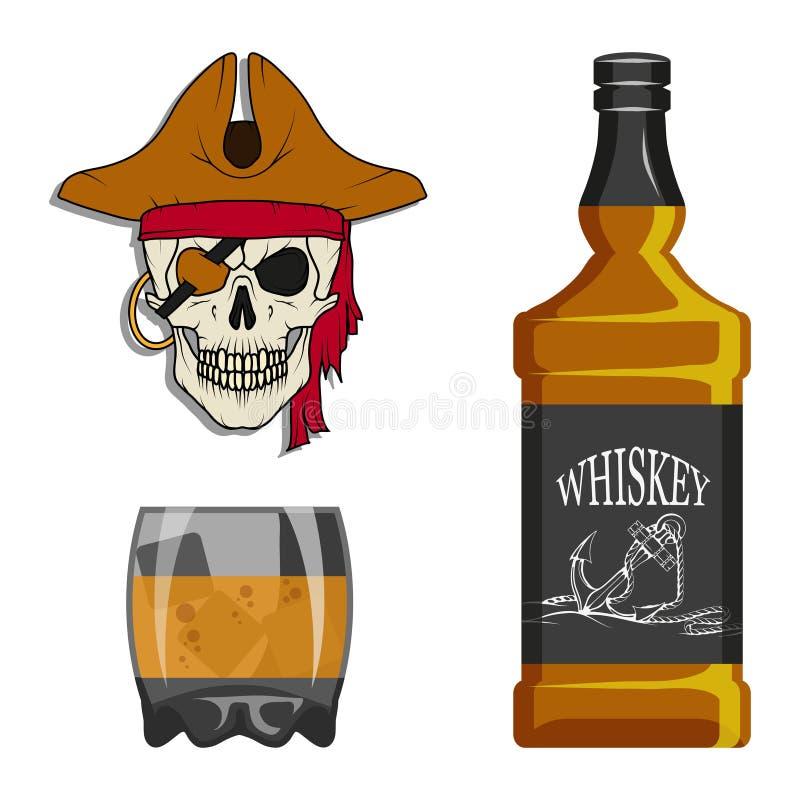 瓶威士忌酒和玻璃,狂欢喝,瓶和玻璃,酒精饮料,人的酒精,瓶威士忌酒,古老 皇族释放例证