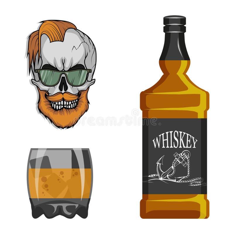 瓶威士忌酒和玻璃,狂欢喝,瓶和玻璃,酒精饮料,人的酒精,瓶威士忌酒,古老 库存例证