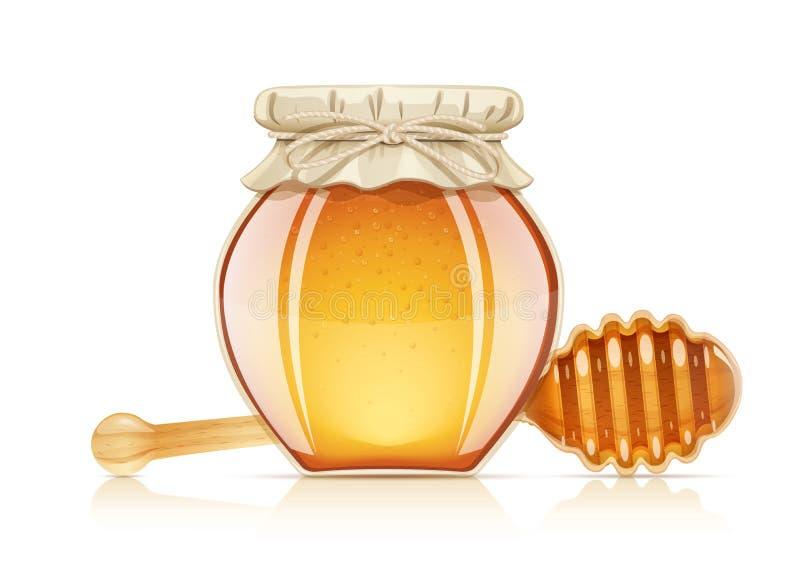 瓶子和浸染工蜂蜜的 也corel凹道例证向量 库存例证