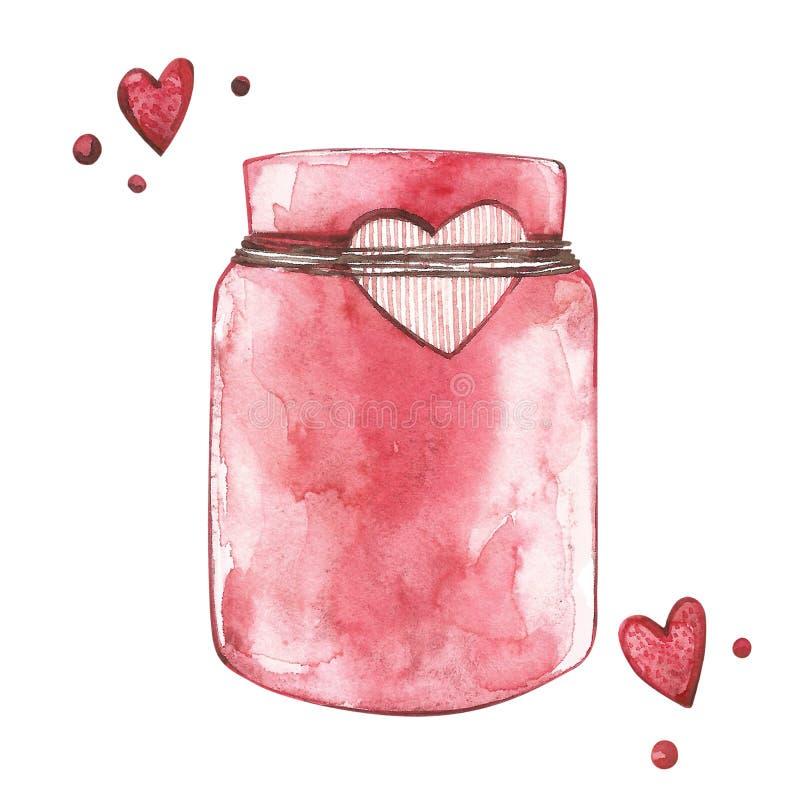 瓶子堵塞 水彩桃红色套元素为华伦泰` s天 剪贴薄设计元素 印刷术海报,卡片 库存例证