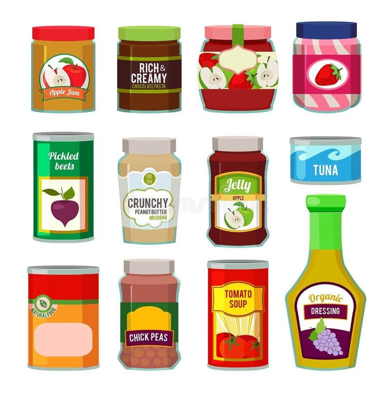 瓶子用水果罐头和其他不同的物品 在平的样式的传染媒介图片 向量例证