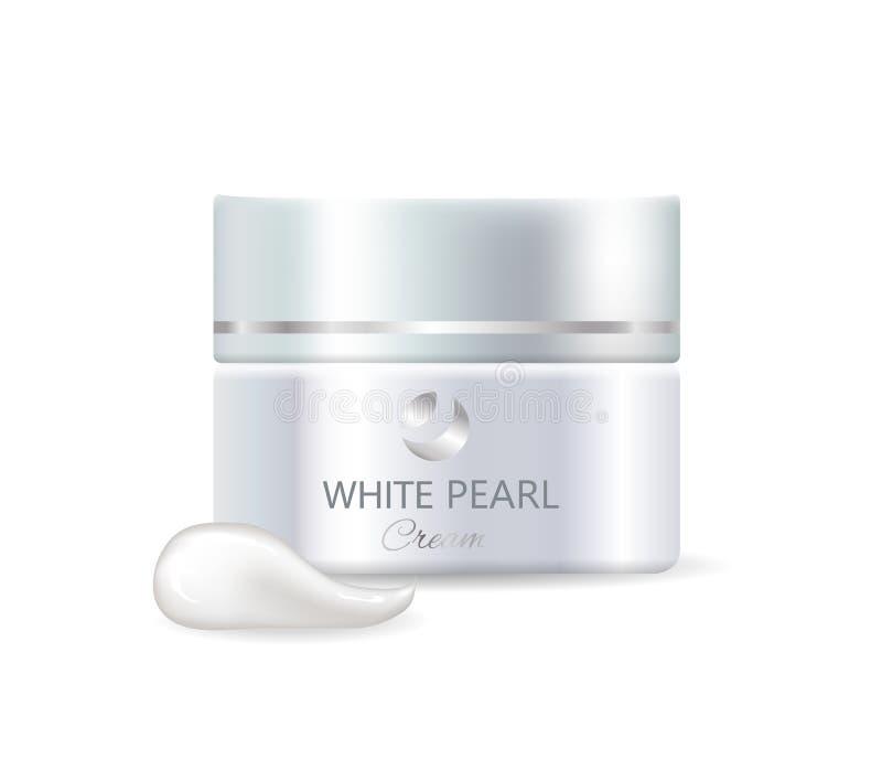 瓶子白色珍珠天奶油和产品样品 皇族释放例证