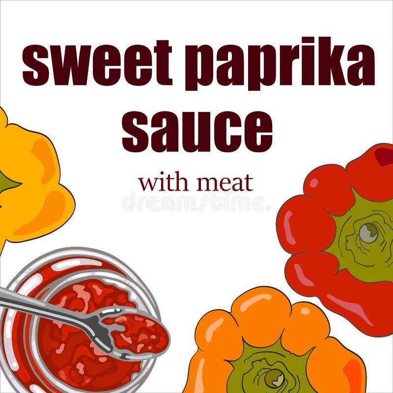 瓶子调味汁用甜椒 向量例证
