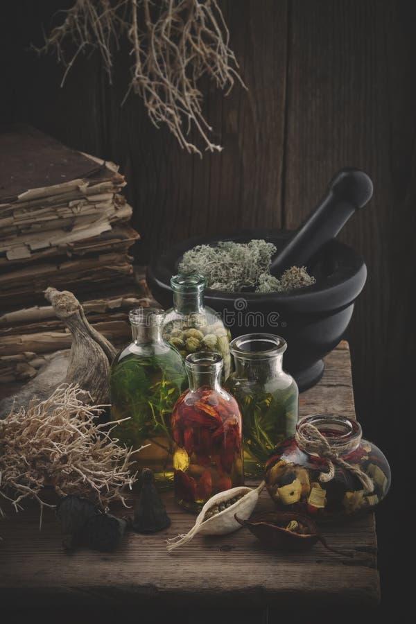 瓶干青苔精油、灰浆,旧书、干燥根、坚果和植物 免版税图库摄影
