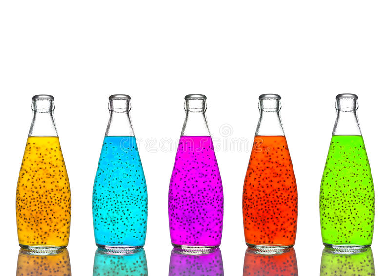瓶异乎寻常的健康汁液颜色混合 图库摄影
