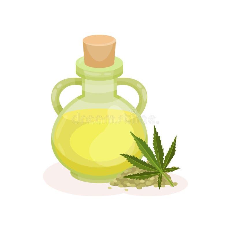 瓶新鲜的油和绿色大麻叶子 充分保健品维生素 自然成份 平的传染媒介设计 库存例证