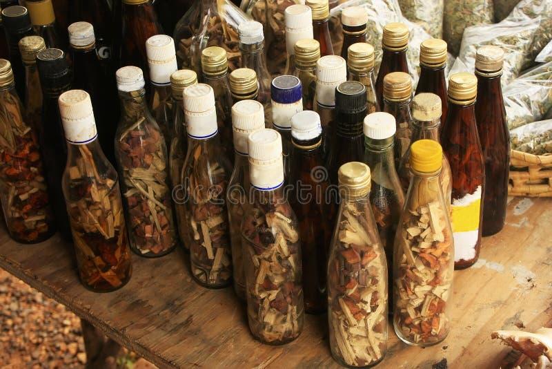 瓶显示有在小村庄的, Samana半岛,多米尼加共和国 免版税图库摄影
