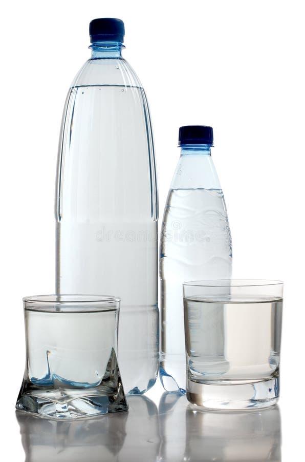 瓶杯子二水 免版税库存图片