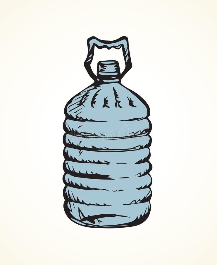 瓶水 得出花卉草向量的背景 库存例证