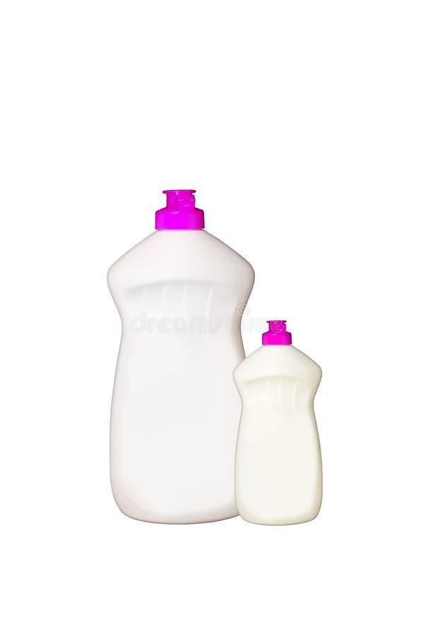 瓶清洁洗涤剂房子液体塑料产品肥皂 有洗涤剂被隔绝的o的塑料瓶 免版税库存照片