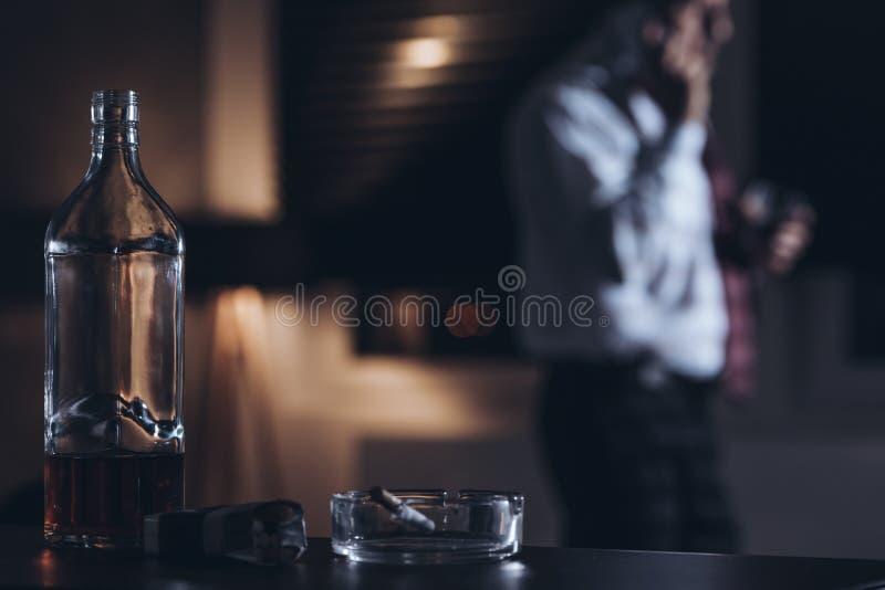 瓶特写镜头有酒精的 库存照片