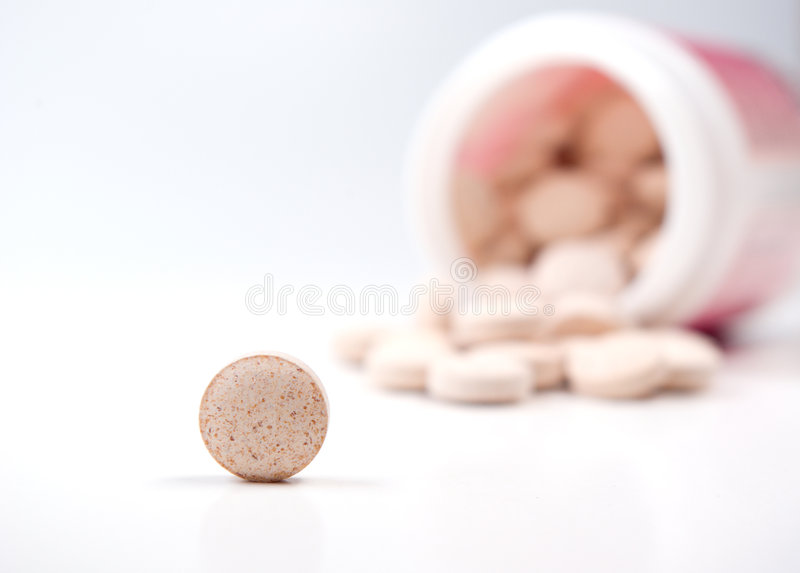 瓶特写镜头药片药片溢出 库存图片