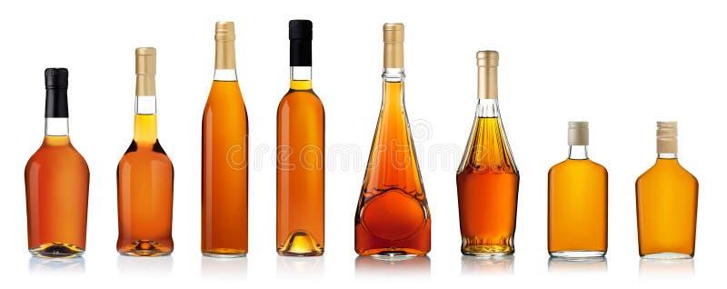 瓶白兰地酒集 库存照片
