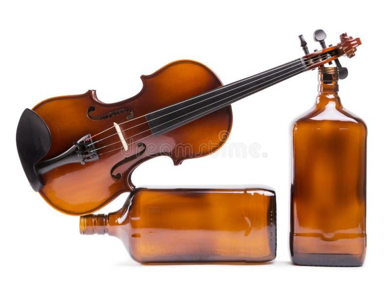 瓶的比喻构成有小提琴的 库存照片