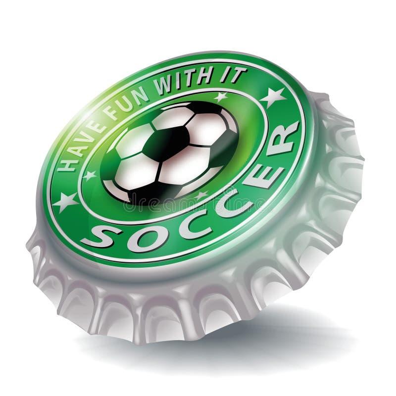 瓶盖与获得与它的乐趣和踢足球 向量例证
