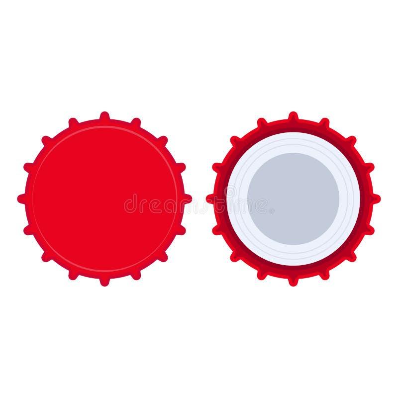 瓶盖红色液体对象集合干净的模板 啤酒圈子图表平的传染媒介象顶视图 金属徽章苏打 皇族释放例证