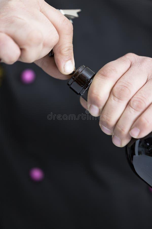 瓶红色吐露的酒 免版税库存照片