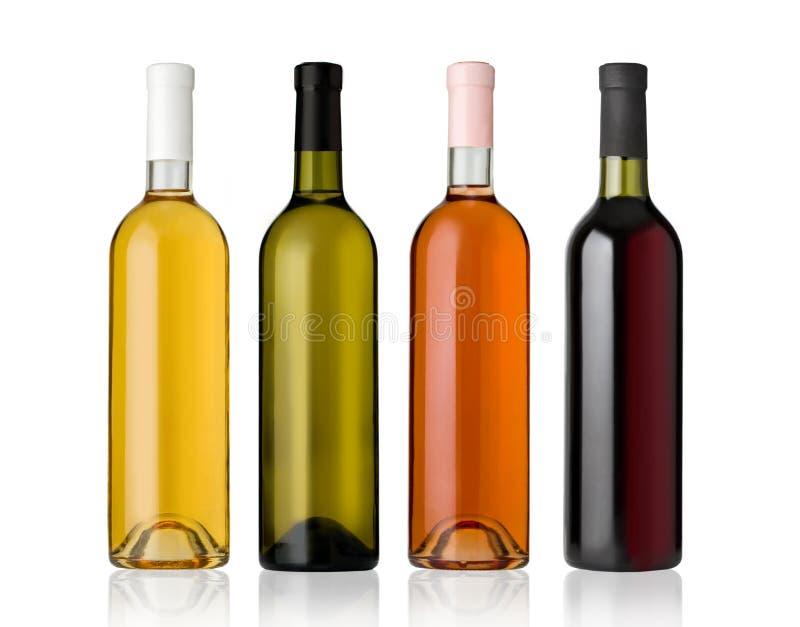 瓶红色玫瑰集合白葡萄酒 免版税库存照片