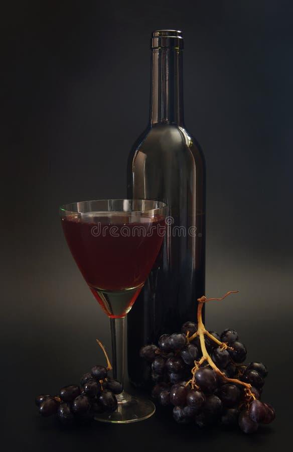 瓶红葡萄酒和酒杯 免版税库存图片