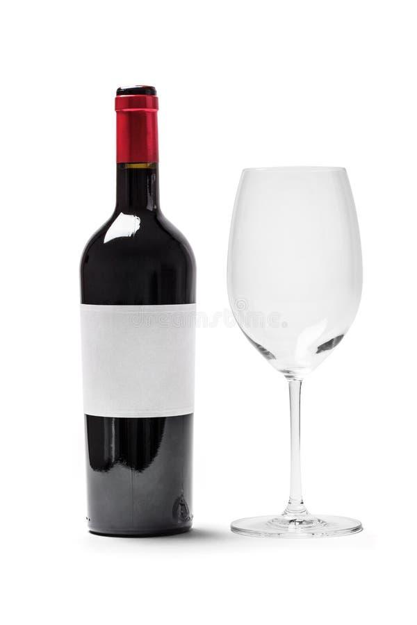 瓶红葡萄酒和玻璃 免版税库存照片
