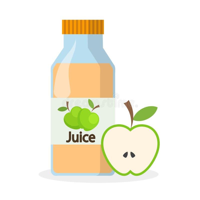 瓶苹果汁和一半绿色苹果,储蓄传染媒介illu 向量例证