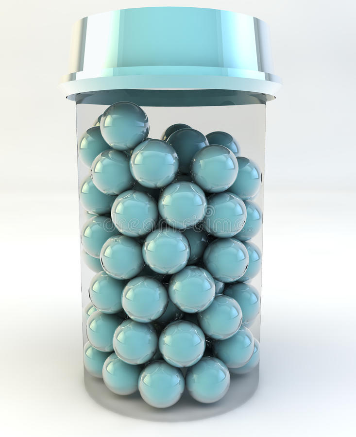瓶透明被装载的药片来回的片剂 库存图片
