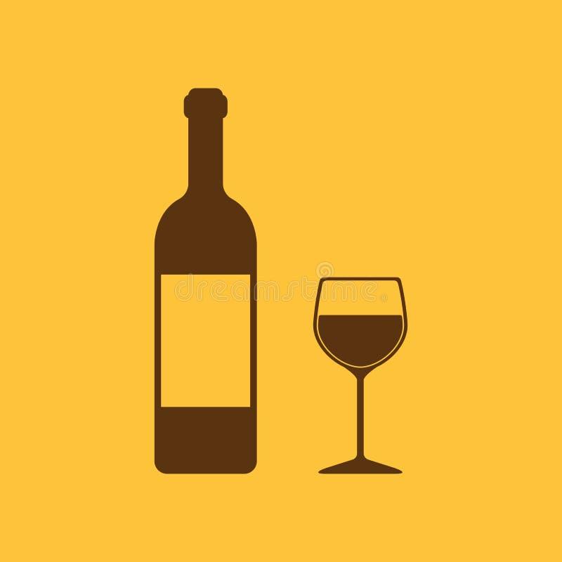 瓶酒和一杯饮料象 向量例证