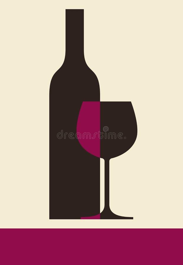 瓶酒和玻璃 向量例证