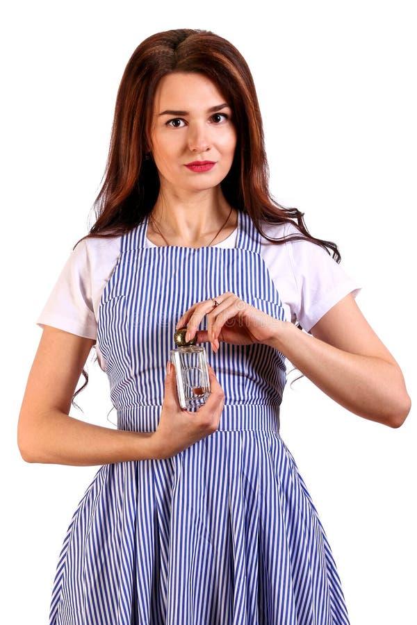 瓶集中前现有量藏品香水视图妇女年轻人 库存照片