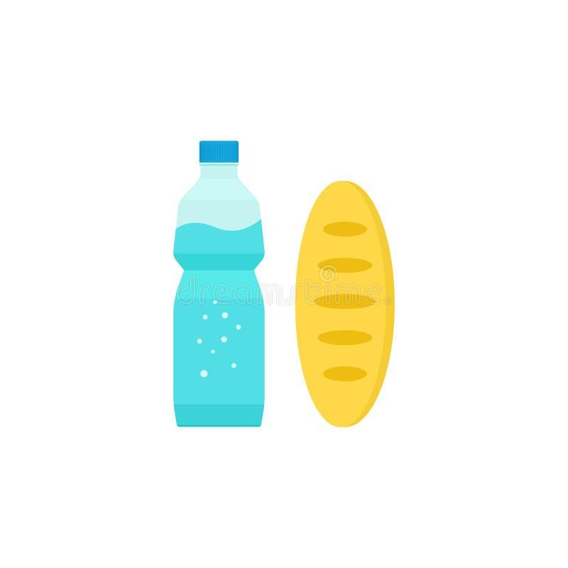 水瓶面包大面包、食物和饮料,早餐膳食 库存例证