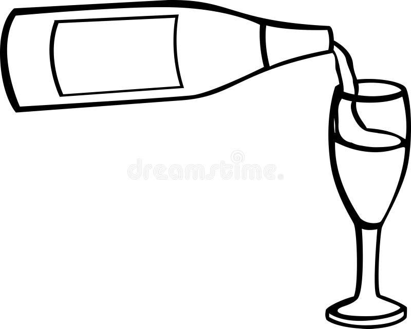 瓶香槟杯子 库存例证