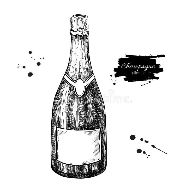 瓶香槟查出的白色 手拉的被隔绝的传染媒介例证 Alcoh 库存例证