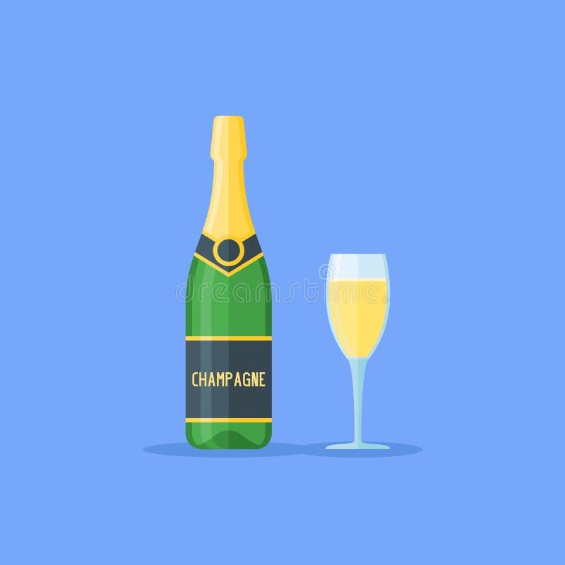 瓶香槟玻璃例证向量 平的样式传染媒介例证 库存例证