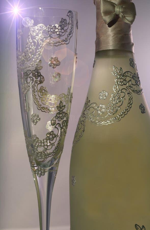 瓶香槟玻璃例证向量 库存照片