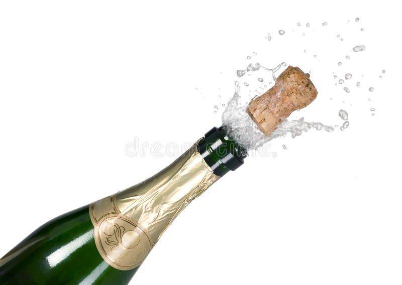 瓶香槟黄柏展开绿色 库存图片