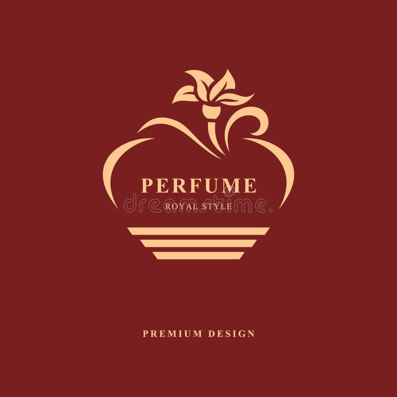 瓶香水设计  组合图案花元素,优美的模板 书法典雅的线艺术商标设计 象征标志为 向量例证