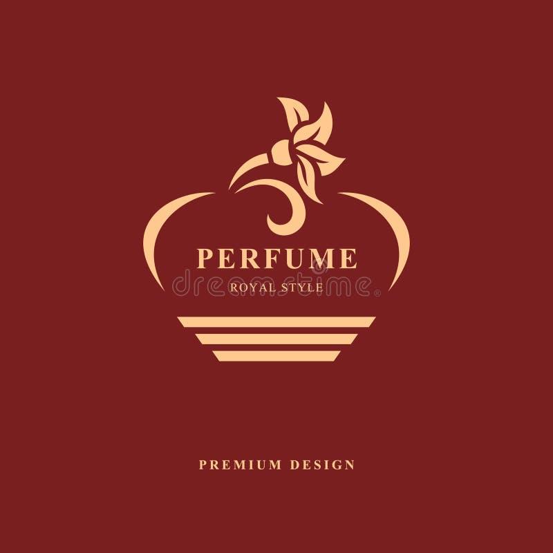 瓶香水设计  组合图案花元素,优美的模板 书法典雅的线艺术商标设计 象征标志为 库存例证
