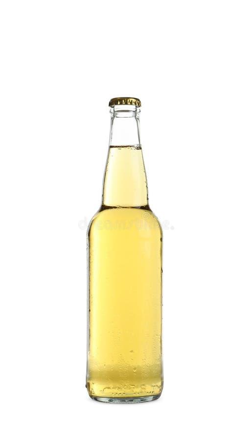 瓶鲜美冰镇啤酒 免版税库存照片